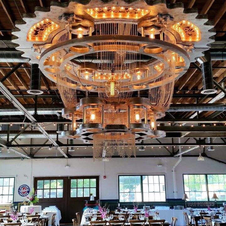 Check out this amazing chandelier that was created for the wedding at the Packard Proving Grounds this past Friday!!