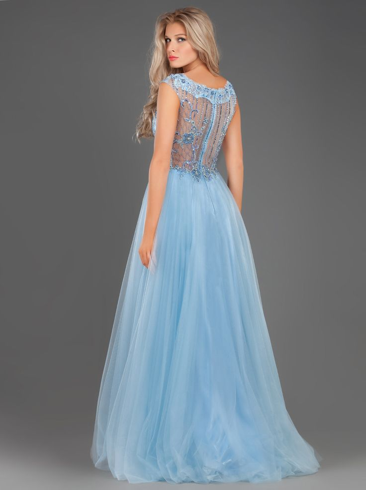 Fairytale Long Evening Tulle Dress with Lace Applique and Beading... http://mikael.gr/en/new-collection/94103.html