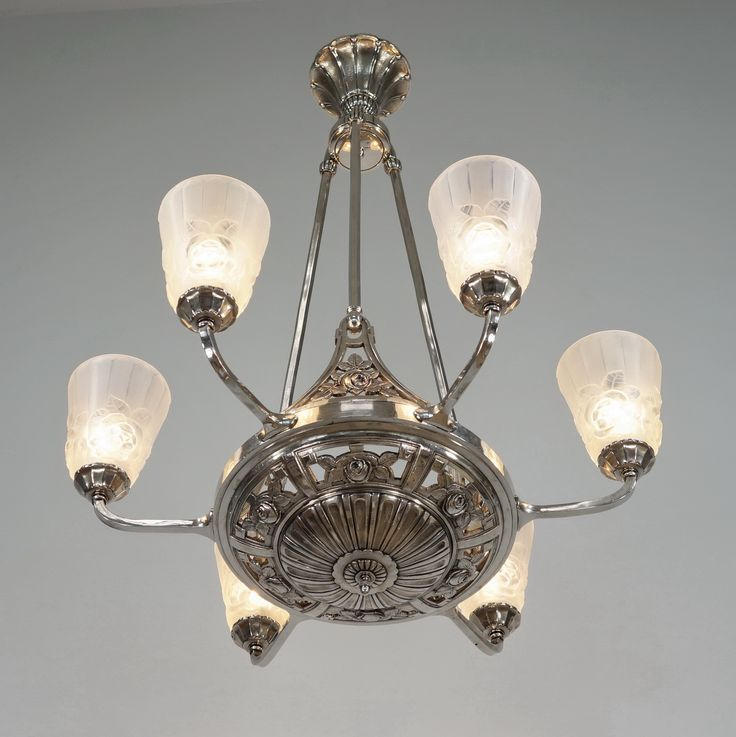 Ebay paravas french art deco chandelier by degué
