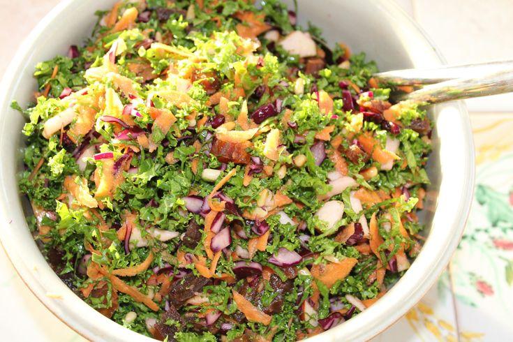 Blandet grønkåls- og rødkålssalat består af grønkål, rødkål, gulerødder, æbler, abrikoser og ristede pinjekerner. Dressing af olivenolie, citronsaft m.m.