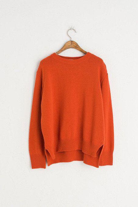 Side Slit Detail Knit Jumper, Brick, 80% Wool, 20% Polyamide