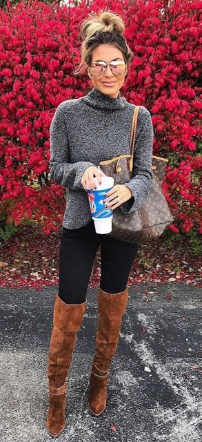 Just a pretty style | Latest fashion trends: Street style | Turtle neck grey sweater with over the knee boots