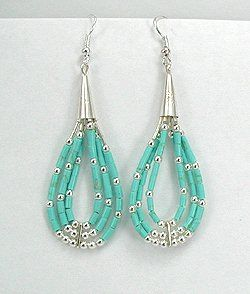 Zuni Catherdral Turquoise and Sterling Silver Earrings