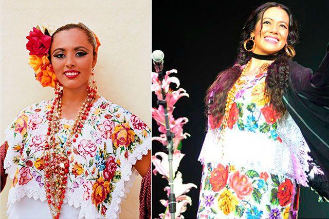 """Yucatán..El conocido """"terno"""", es decir, el traje típico de Yucatán se compone por tres piezas: fustán, huipil y jubón. El primero es una falda recta que se ajusta desde la cintura y que llega hasta los tobillos. El jubón es una clase de cuello cuadrado que usualmente está bordado con muchas flores y se coloca encima del huipil.  Los collares de colores son una pieza esencial para complementar el estilo de este traje."""