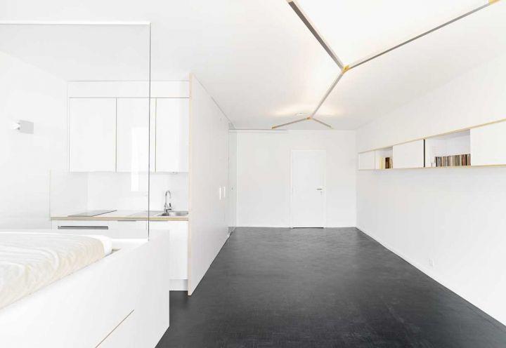 Il concept dell'appartamento a Ginevrasi basa sulla disposizione delle camere su due fasce parallele: da un lato il living, dall'altro, bagno, cucina e camera da letto