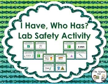 "Science Lab Safety ""I Have, Who Has"" Activity. This Lab Safety set is sure to spark interest from all of your learners. This activity includes 24 unique ""I Have, Who Has"" statements. Use this with your entire class as review to get all of your students to participate."