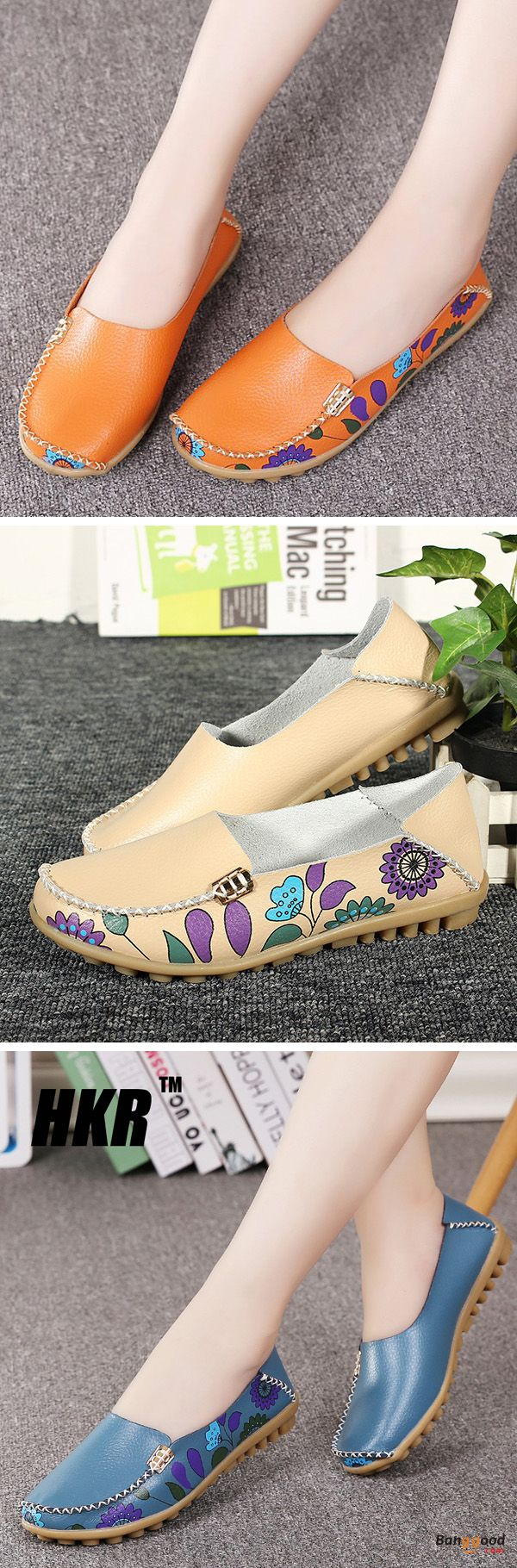 US$20.99 + Free shipping. Size(US): 5~10. Color: Black, Purplish Red, Rose Red, Beige, Light Blue, Royal Blue, Orange, Khaki. Upper Material: Cow Split Leather. Fall in love with casual style! SOCOFY US Size 5-10 Women Flat Flower Casual Outdoor Soft Slip On Leather Loafer Shoes.