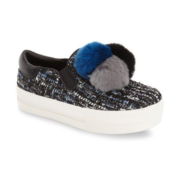 Women's Ash 'Joy' Genuine Rabbit Fur Sneaker ($210) ❤ liked on Polyvore featuring shoes, sneakers, metallic shoes, slip on trainers, slip-on sneakers, slip-on shoes and ash sneakers