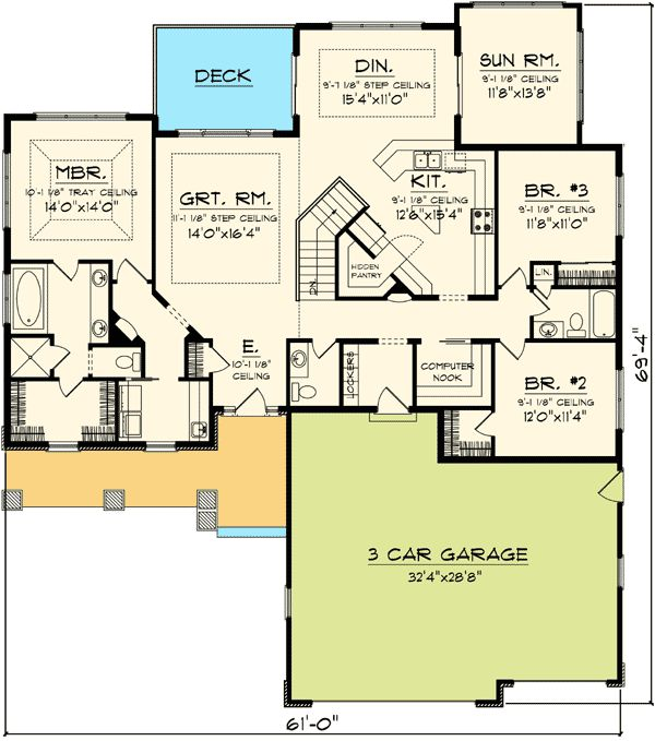 Ranch House Plans With Sun Room on master bathroom floor plans with pictures