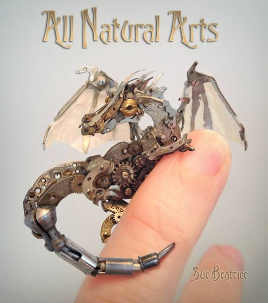 Little watch parts Dragon by Sue Beatrice