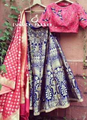 Beautiful Banarasi lehenga with hand work blouse! #indianwear #bridal #indiancolors #colorful #beautiful #lehenga #indian #wedding #ethenic #bride #bridesmaid #banarasi #silk #blue #pink #handwork #heavy #golden #banarasi #dupatta