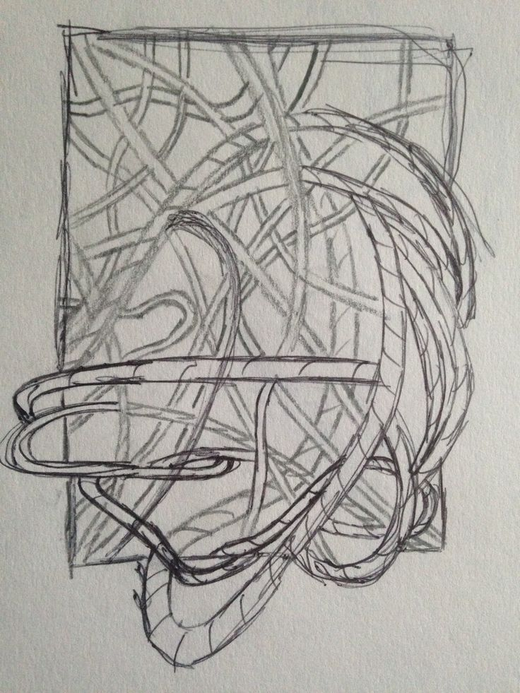 A line drawing of a collection of thread hanging through a broken plastic box no longer being 'encased' by the box.
