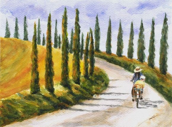 Byway (Val d'Orcia, Tuscany, Italy); Watercolor by Maga Fabler