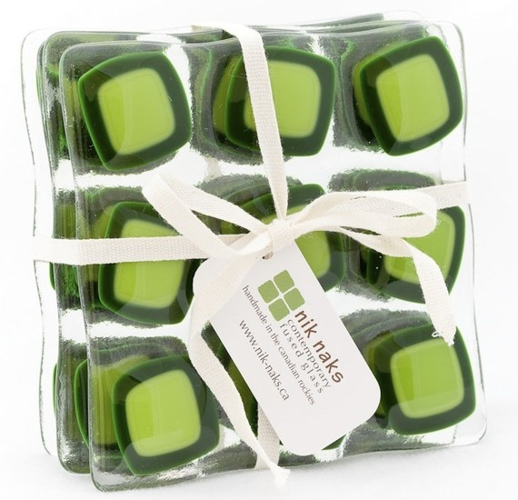 fused glass coasters lime green glass coasters by niknaksglass, $35.00