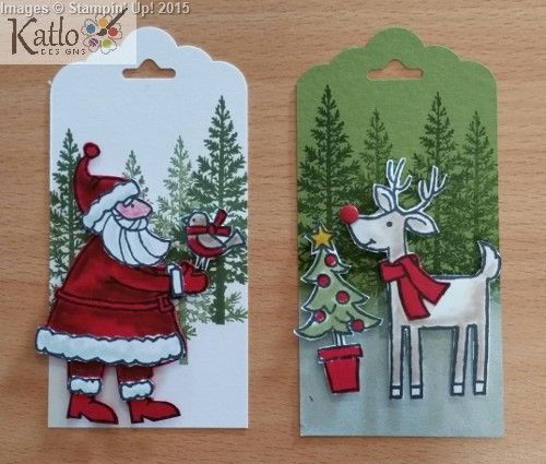 Handmade Gift Tags - Christmas tags. Santa's Gifts Stamp Set from Stampin' Up! Paper piecing and shading with Blender Pens
