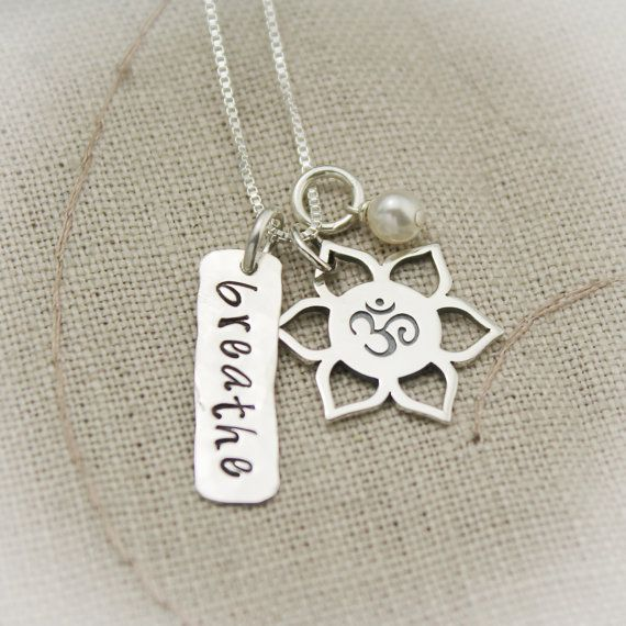 Beatiful Lotus Flower and Ohm Necklace Yoga, Namaste or Breathe Hand Stamped with Pearl in Sterling Silver