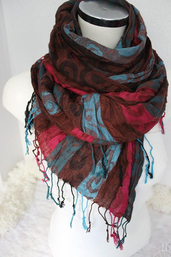 Striped men scarf Brown Blue scarf Men Organic scarf Pink