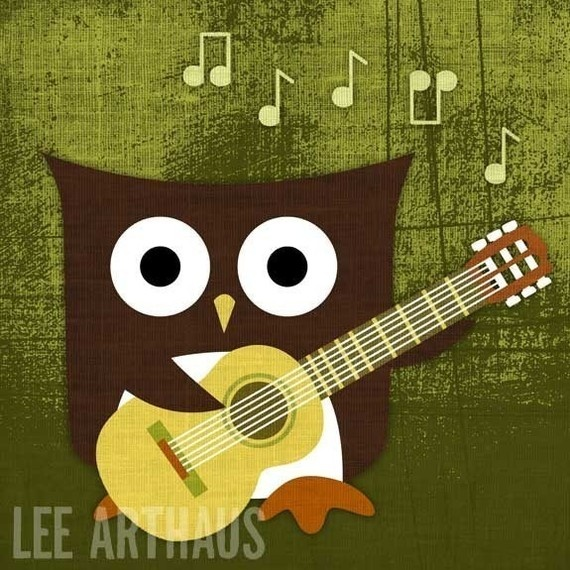 owl playing the guitar - photo #2
