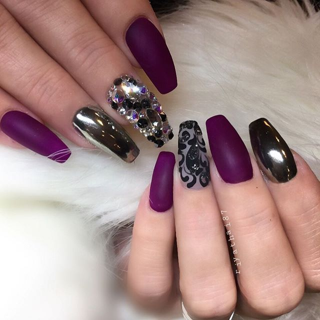 Chrome Nail Art Designs: Matte Purple And Chrome Nail Art