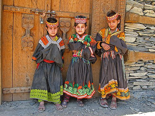Kalasha girls in the Chitral Valley, Pakistan