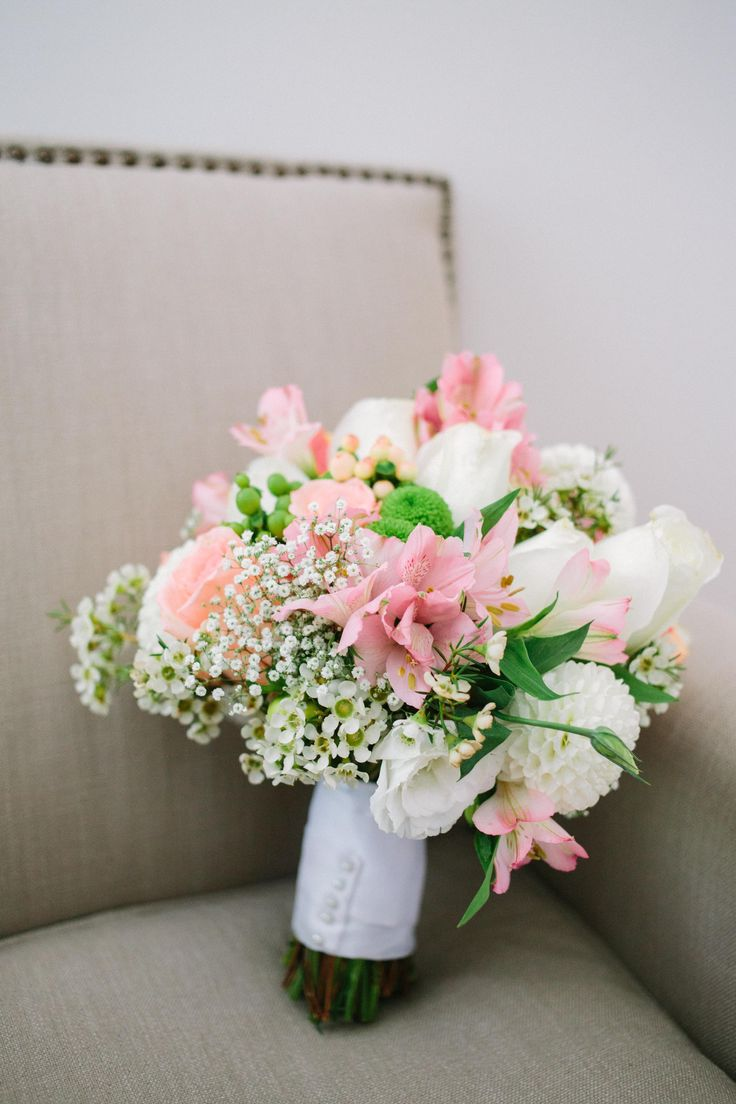 Pink, White and Green Wedding Bouquet