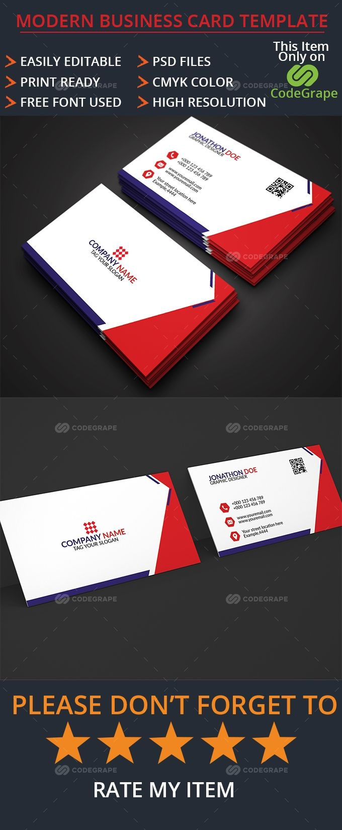 Modern Business Card In 2020 Modern Business Cards Business Card Template Card Template