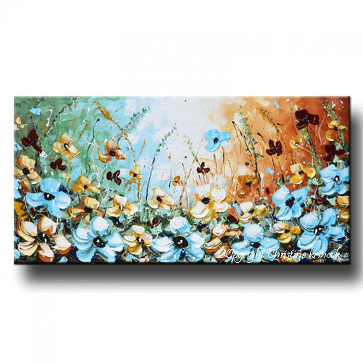 "GICLEE PRINT Art Abstract Painting Blue Flowers Poppies Modern Canvas Prints Brown White Home Wall Decor xl LARGE sizes up to 60"" -Christine"