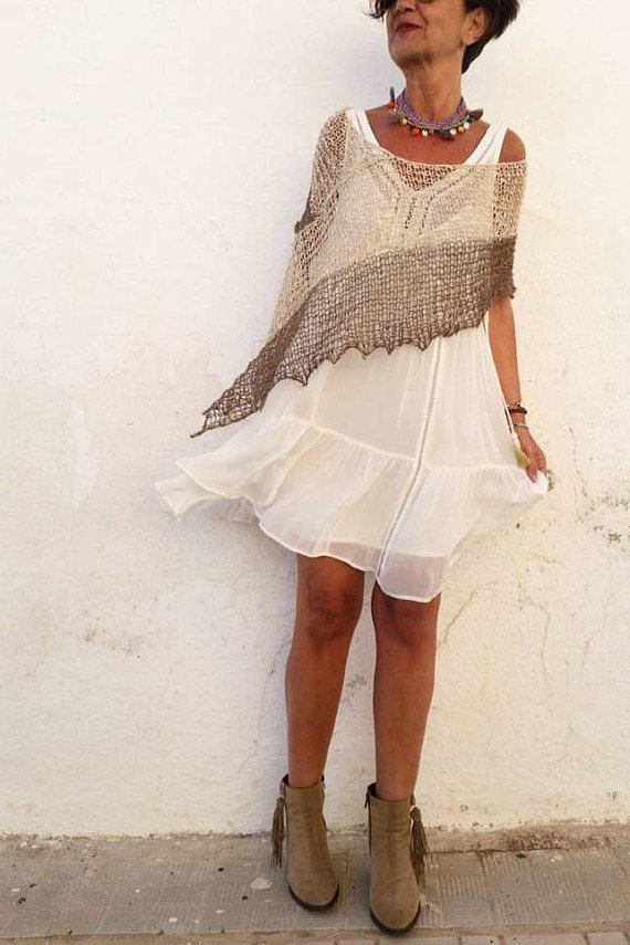 Summer outfit with white dress.and linen knitwear.