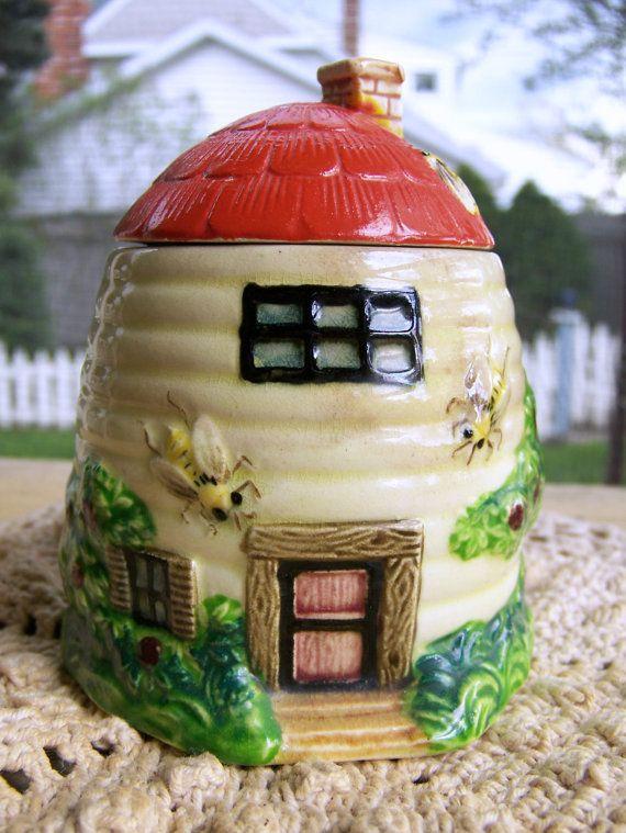 Vintage Honey Pot Antique Marutomo Ware Honey Pot Vintage