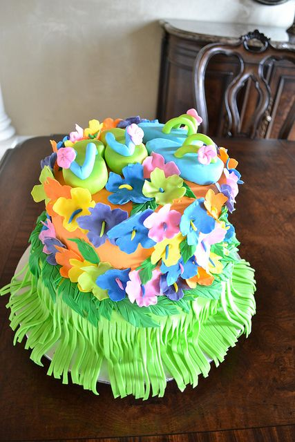 Luau Party Cake by Lily's cakes, via Flickr