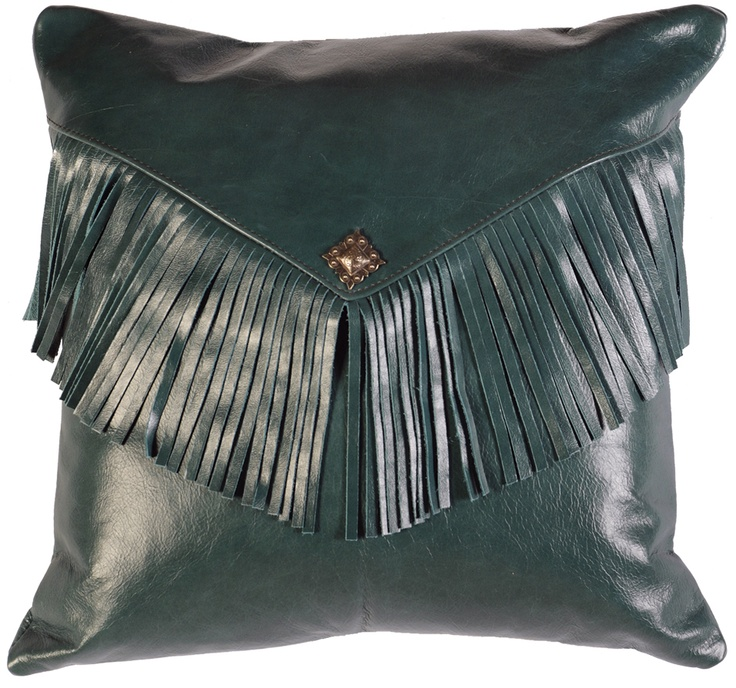 the peacock leather envelope style pillow is handcrafted from blue leather and features a silver concho and fringe accents