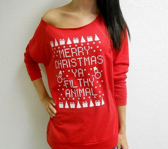 Ugly CHRISTMAS Sweater. Merry Christmas Ya by StrongGirlClothing