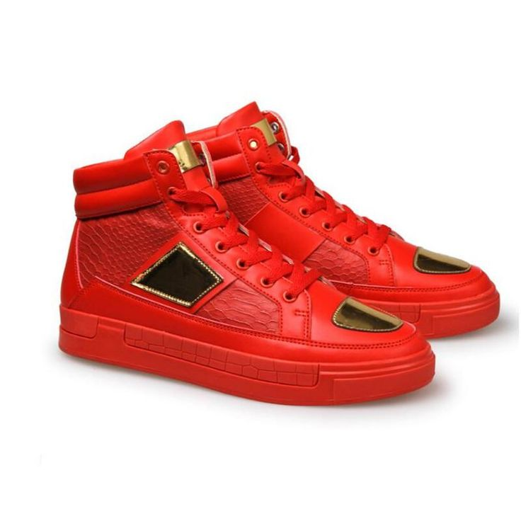Ya - Men Branded Casual Shoes - High Top Flat Shoes - Trainers Thick Soled Metal Sequin Hip Hop Shoes