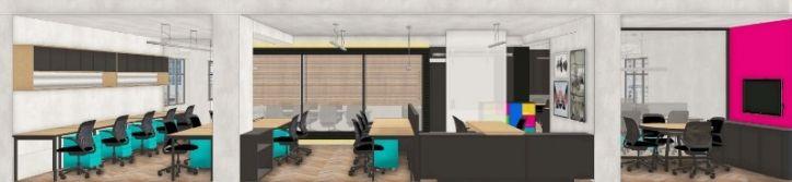 Projeto 3D de escritório com sala de reunião com divisória em vidro, cadeiras com rodízio, mesas com tampo em madeira, gaveteiros colortidos. Projeto escritório da sede agencia publicidade desenvolvido em parceria com Rogerio Castro. Arquiteta Danyela Corrêa