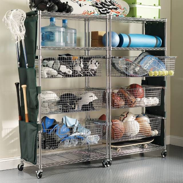 Chrome Finished Sport Shelving With Pull Out Bins Elevates Sports Equipment  Storage To The