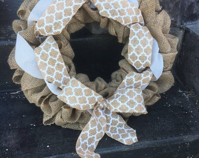 Rustic Burlap Wreath, Chevron Burlap Wreath, Farmhouse Wreath, All Year Round Wreath, Front Door Wreath, Rustic Decor