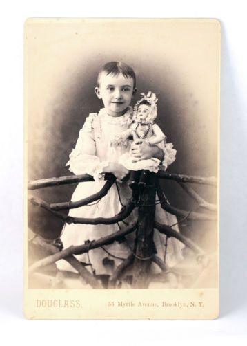 Little-Boy-w-Crazy-Looking-DOLL-Cabinet-Card-Photograph-Douglass-Brooklyn