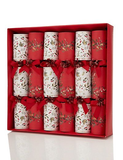 6 Red & White Connoisseur Christmas Crackers | M&S