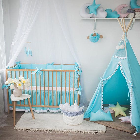 Light Blue Baby Bedding With Feathers Embroidered Baby Boy