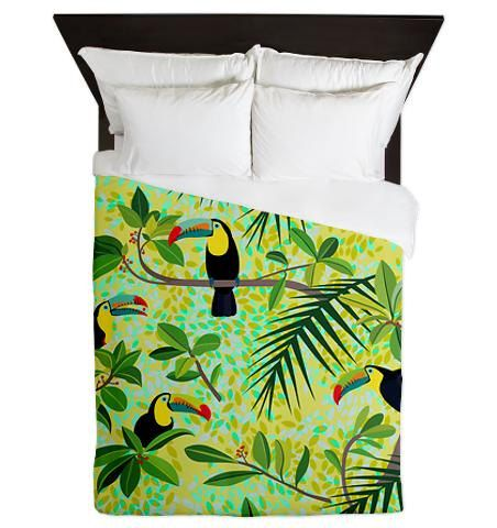 Toucans Queen Duvet Cover - Green Tropical Forest - Ornaart Design by Ornaart on Etsy https://www.etsy.com/listing/176734482/toucans-queen-duvet-cover-green-tropical