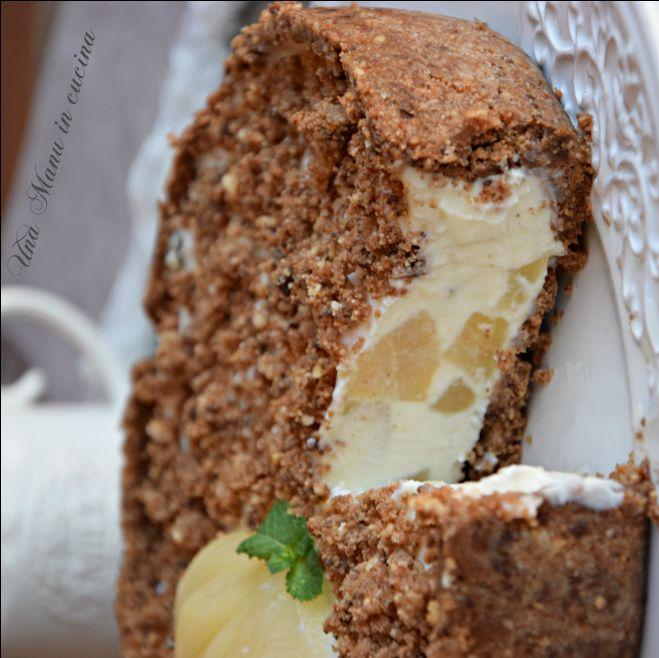 Torta fredda ricotta, pere e cioccolato
