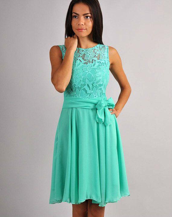 Bridesmaid Aqua Mint  Dress Chiffon,Lace Top  Dress  Wedding beach.
