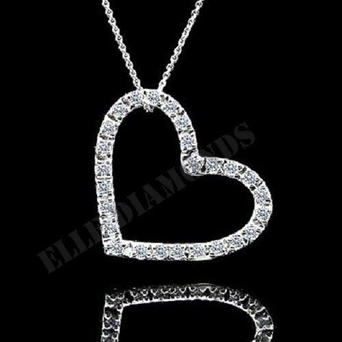 "Fashion Women Open Heart Pendant & Chain Necklace 18"" Inches 14K White Gold Over #ElleDiamonds #FancyPendant"