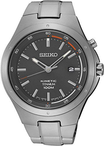 Seiko Kinetic SKA713 Grey Dial Titanium Band Men's Watch ** You can get more details by clicking on the image.