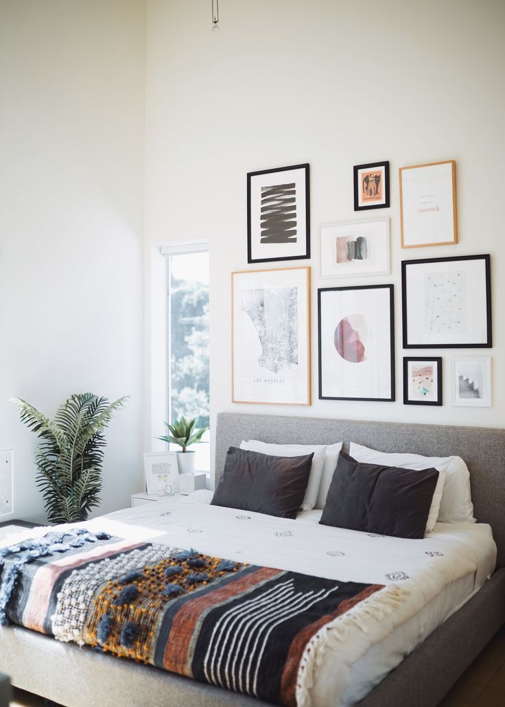 Beautiful Gallery Wall Above Cozy Master Bed Above Bed Decor Bedroom Wall Decor Above Bed Wall Decor Bedroom