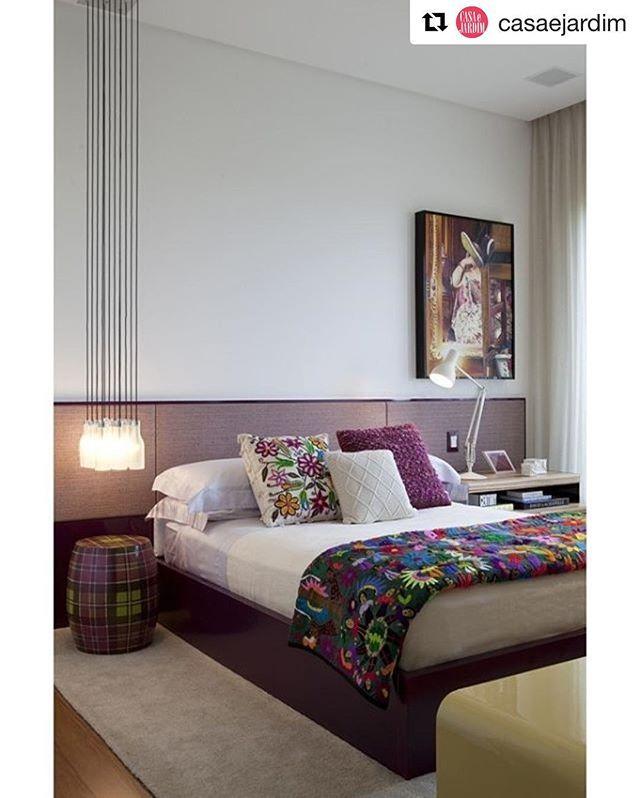 Vanessa Wonsovicz Tour Pelo Quarto ~ Repost @casaejardim No quarto, projetado pelo arquiteto Diego Revollo