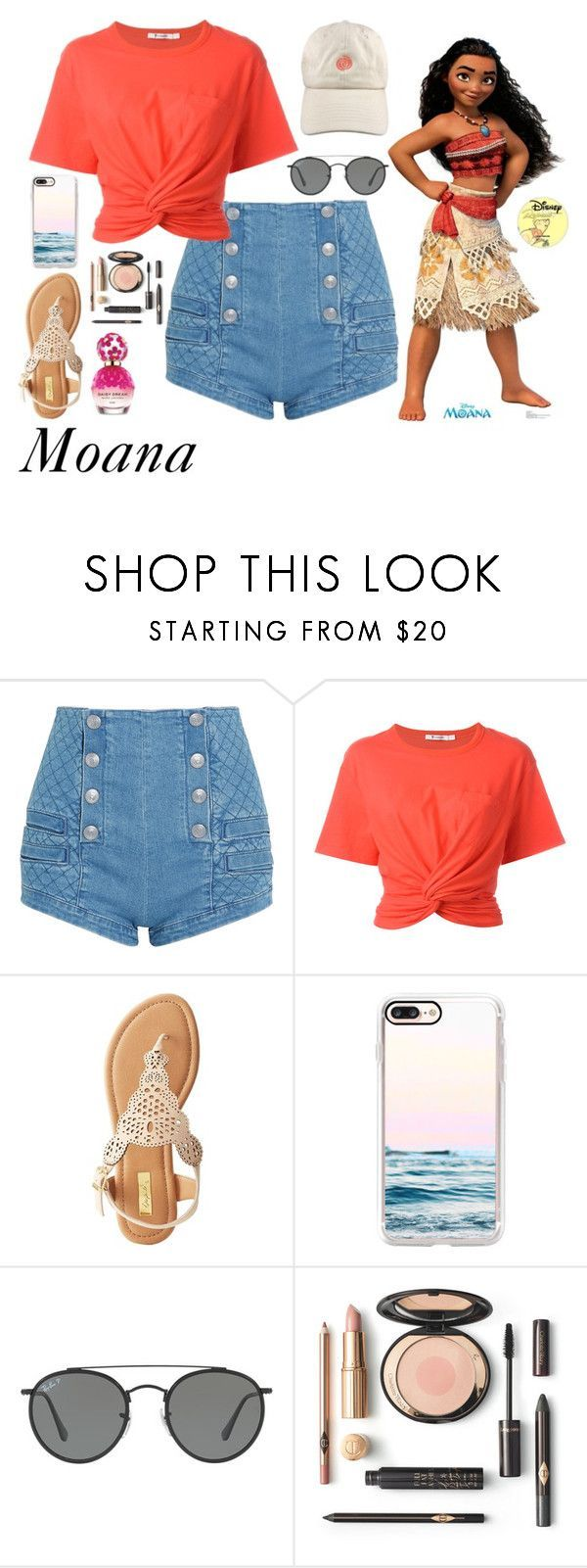 """""""Moana"""" by disneyonrepeat ❤ liked on Polyvore featuring Pierre Balmain, T By Alexander Wang, Qupid, Casetify, Ray-Ban, Marc Jacobs, disney, disneybound, disneyfashion and disneycharacter"""
