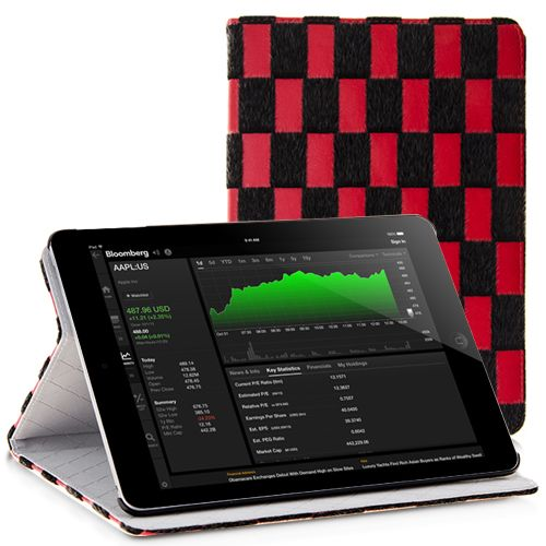Grid Trimmed Fur PU Leather Stand Case for iPad Air - Red Color #ipadcase #cellz.com #ipadair #leathercase #ipadcover $8.25