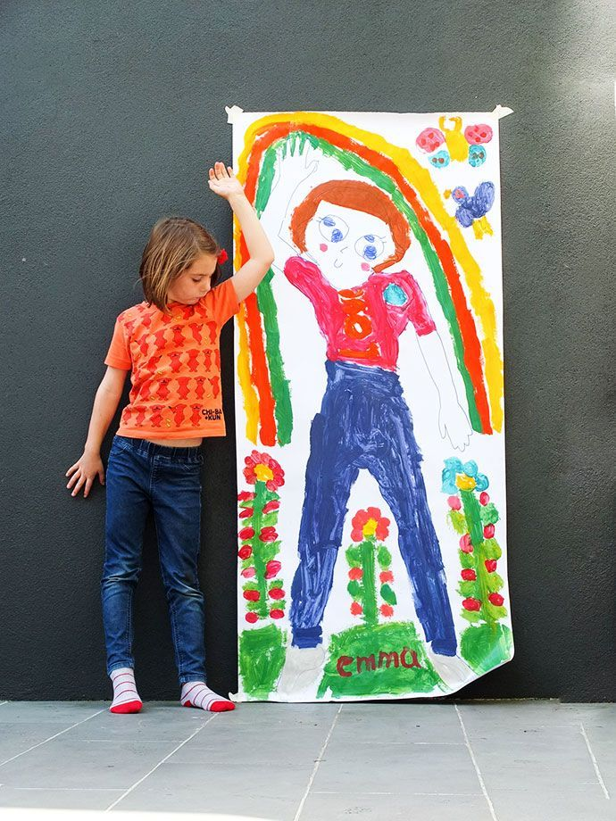 Kids art activity - Life-size self portrait mypoppet.com.au