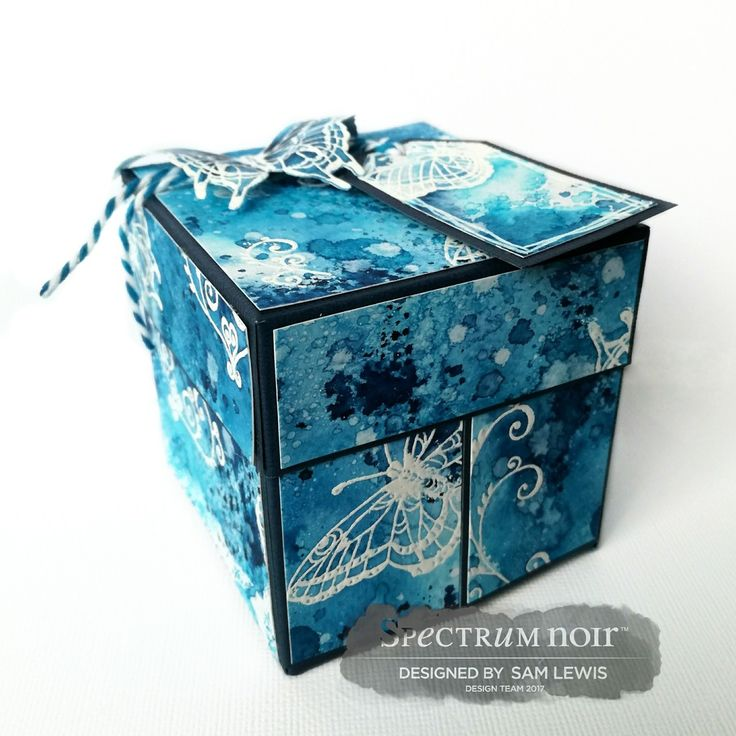 Fold Out Gift Box by Sam Lewis AKA The Crippled Crafter. Features Cherry Green stamps and Spectrum Noir Aqua Markers.  http://www.thecrippledcrafter.co.uk/2017/06/gift-box-butterflies-spectrum-noir-aqua.html  #thecrippledcrafter #cherrygreen #crafterscompanion #spectrumnoir #spectrumnoiraqua #giftbox #watercolour #pens